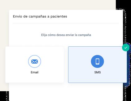 elija entre sms o email